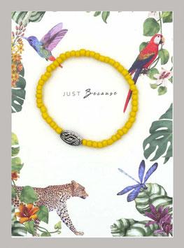 Massai-Armband auf Geschenkkarte °Just Because ...° - Gelb, Silber