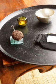 Großes Messing-Tablett schwarz