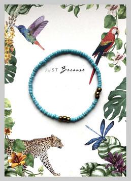 Massai-Armband auf Geschenkkarte °Just Because ...° - Hellblau, Gold