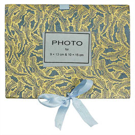 Minialbum: Fotoalbum °Leaves° - Graublau & Gold