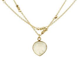 Zweireihige Halskette °Amodini° mit Stein - vergoldetes Silber + Phrenit