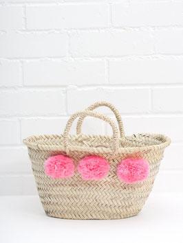 Mini-Korb °Marché° mit Flausch-Bommeln für Kids - Pink bzw. Rosé