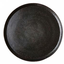 Großes Messing-Tablett / Tischplatte schwarz