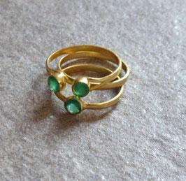 Set aus 3 Ringen °Combine° mit grünem Achat, 17 mm