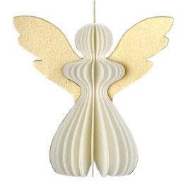 Anhänger °Engel° aus Papier - Creme-Weiß & Gold