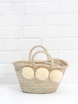 Mini-Korb °Marché° mit Flausch-Bommeln für Kids - Creme-Weiß