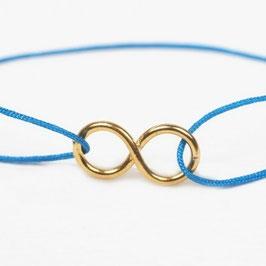 Armband °Infinity° mit Gold & Seide - Ultramarin-Blau