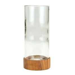 Vase aus Weinflasche mit Holz-Coaster - Klar