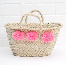 Mini-Korb °Marché° mit Flausch-Bommeln - Pink bzw. Rosé