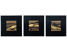 "Kunstwerk ""Tryptichon Natur"" – Holz & 24 Karat Blattgold"
