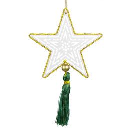 Sternanhänger °Star° - Weiß / Gold mit grüner Quaste