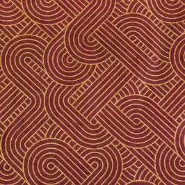 Geschenkpapier °Art Deco° - Weinrot  und Gold