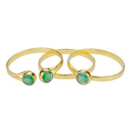 Ring Set aus 3 Goldringen mit grünem Achat, 17 mm