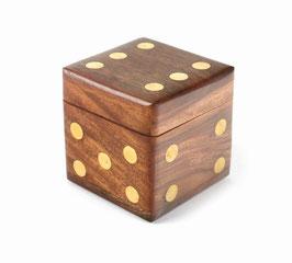 Würfelbox mit 6 Würfeln - Holzbox mit Messingeinlagen