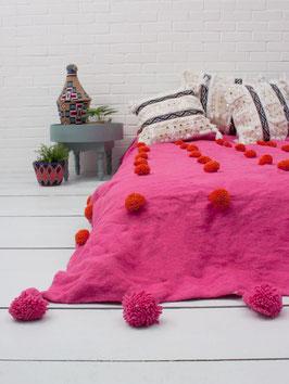 Woll-Plaid °PomPom° - 160 x 260 cm - Pink