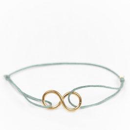 Armband °Infinity° mit Gold & Seide - Salbei