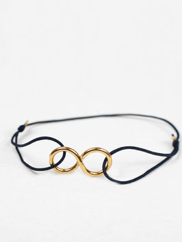 Armband °Infinity° mit Gold & Seide - Indigo