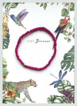 Massai-Armband auf Geschenkkarte °Just Because ...° - Pink, Gold