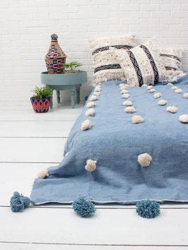 Woll-Plaid °PomPom° - 160 x 260 cm - Hellblau