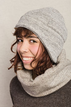 Bonnet bandeau rayé gris
