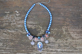 "Collier ""Mogst schmusn?"" blau"
