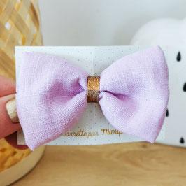 Grande barrette lin violet clair, lien cuivre