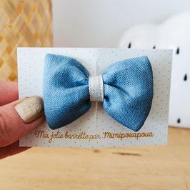 Barrette lin Bleu navy, lien argent