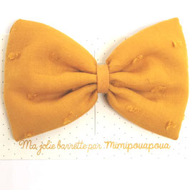 Grande barrette plumetis moutarde, lien moutarde