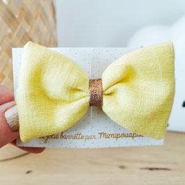 Grande barrette lin jaune clair, lien cuivre