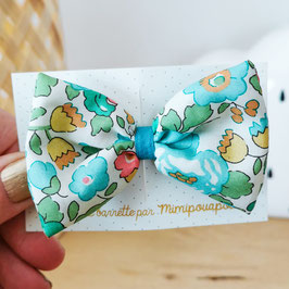 Grande barrette Liberty Betsy turquoise, lien turquoise