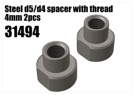 Steel d5/d4 spacer with thread 4mm 2pcs