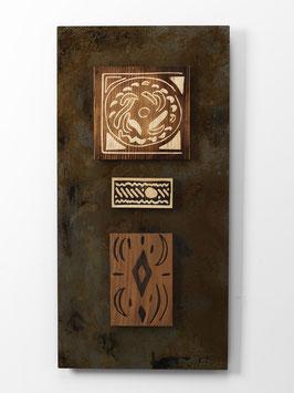 Aratun. Quadro etnico. Composizione in metallo e legno. Tavolette magnetiche componibili.