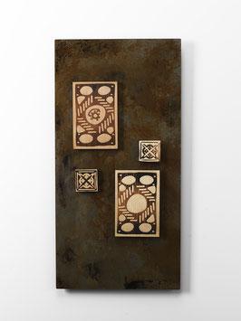 Paedas. Quadro etnico. Composizione in metallo e legno. Tavolette magnetiche componibili.