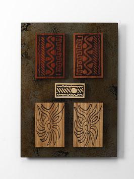 Sabro. Quadro etnico. Composizione in metallo e legno. Tavolette magnetiche componibili.