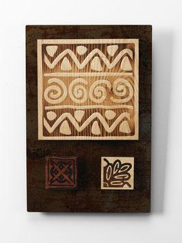 Pibaraca. Quadro etnico. Composizione in metallo e legno. Tavolette magnetiche componibili.