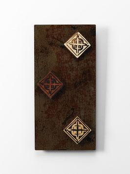 Temeco. Quadro etnico. Composizione in metallo e legno. Tavolette magnetiche componibili.