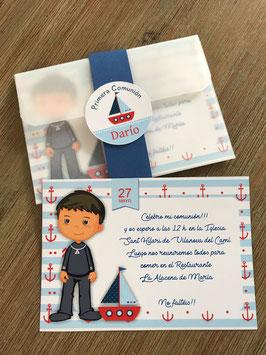 Invitación comunión niño con cubierta VEGETAL
