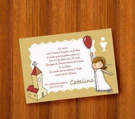Invitación comunión niña globo