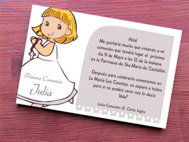 Invitacion comunion niña rosario