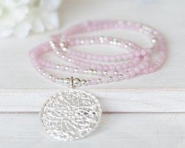Halskette Rosenquarz (Silber)