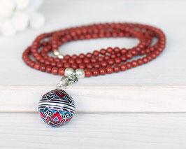 Halskette «Mom» Bola-Klangkugel Jaspis (Silber)