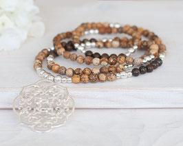 Halskette Jaspis & Bronzit (Silber)