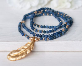 Halskette Sodalith & Feder (Gold)