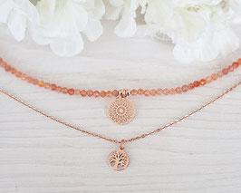 Halskette Kurz Sonnenstein (Rosé-Gold)