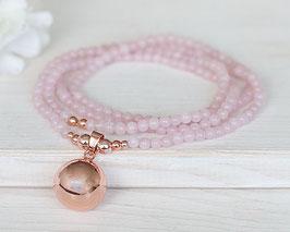 Halskette «Mom» Bola-Klangkugel Rosenquarz  (Rosé-Gold)