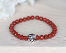 Single-Armband «Mom» Roter Jaspis (Silber)