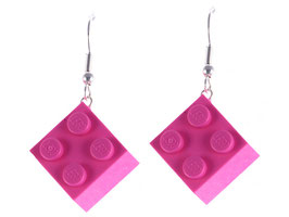 "Earrings ""Lego"" 2x2 brick"