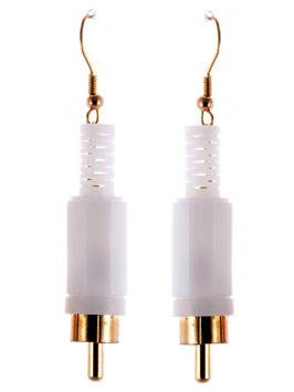 "Audio Earrings ""Stereo"" white"