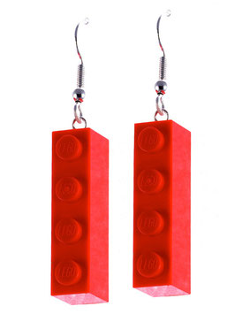 "Earrings ""Lego"" 1x4 brick"