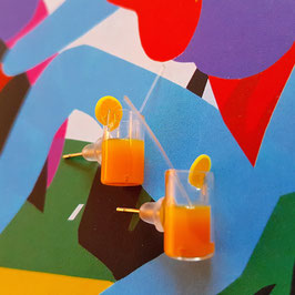 Orange Juice earrings (real glass)